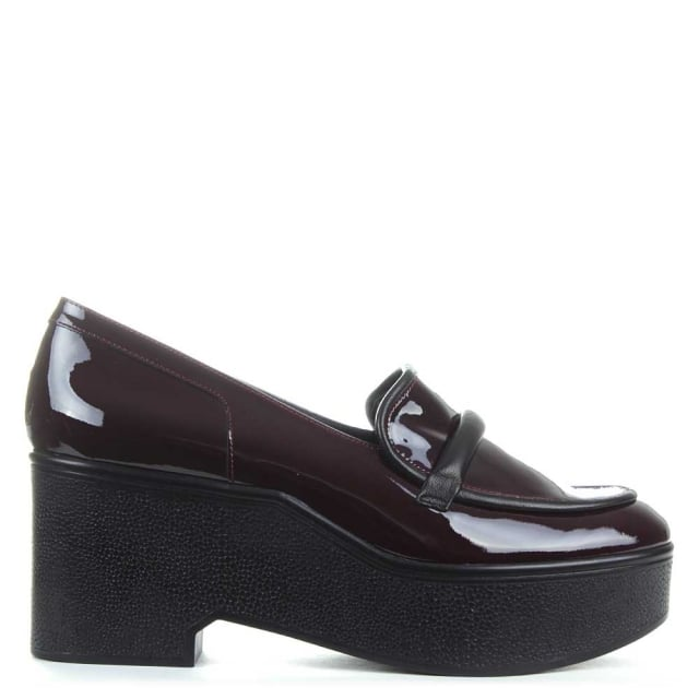 Xocole Burgundy Patent Block Heel Loafer