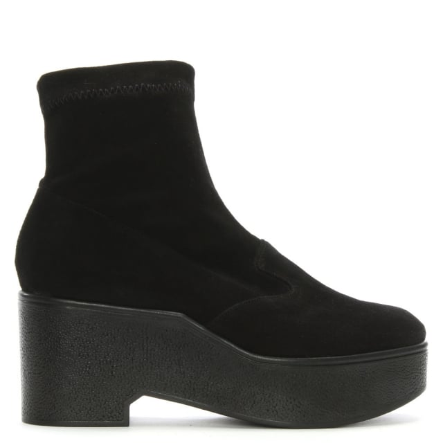 Xupn Black Suede Pull On Platform Ankle Boots