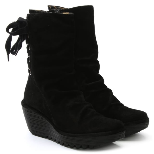 d716956dfb5 Yada Black Suede Tie Back Wedge Calf Boots