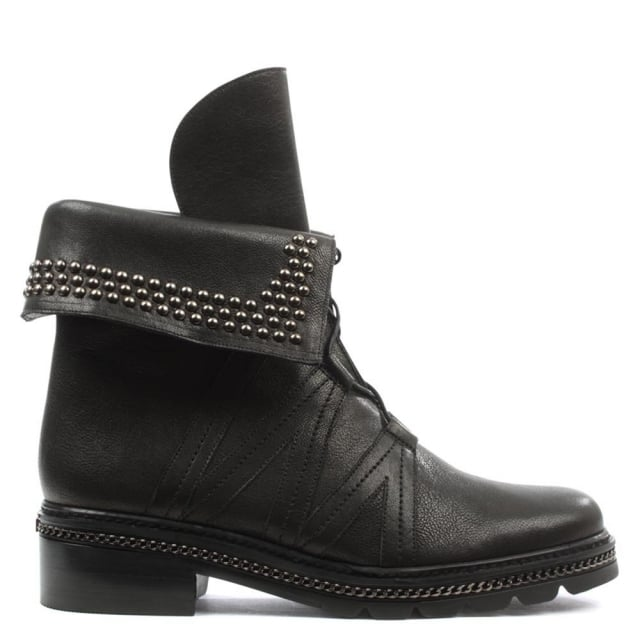 Yada Stud Black Leather Biker Boot