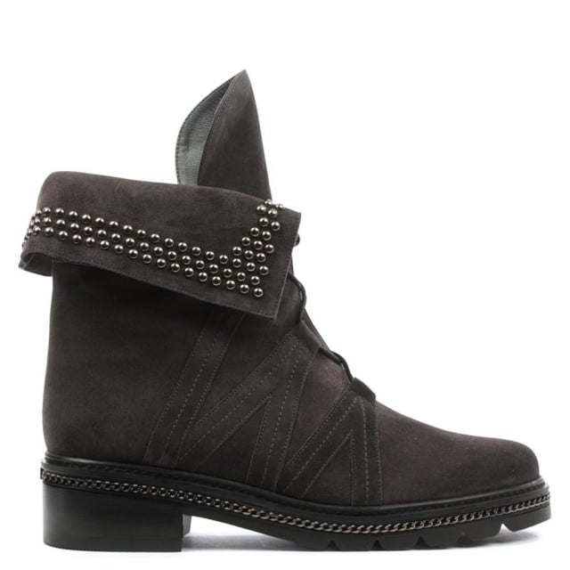 Yada Stud Grey Leather Biker Boot