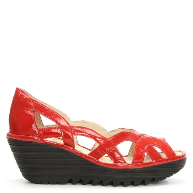 Yadi Red Patent Cut Out Wedge Peep Toe Pump