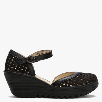 12b69febec71f Yadu Black Black Leather Perforated Wedge Mary Janes. Sale. Fly London ...