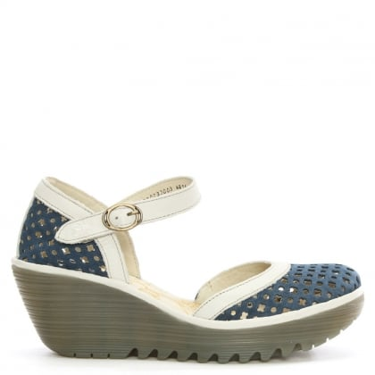 Yadu Navy Leather Perforated Wedge Mary Jane
