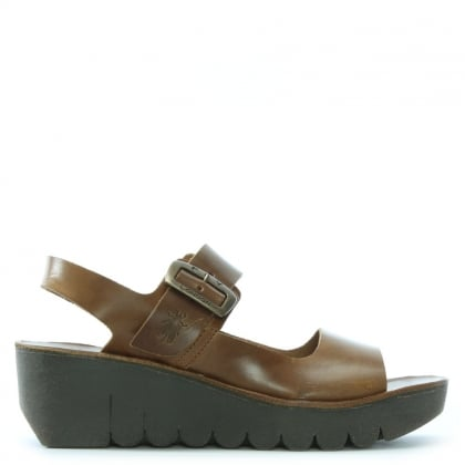 Yail Brown Leather Two Strap Sling Back Sandals