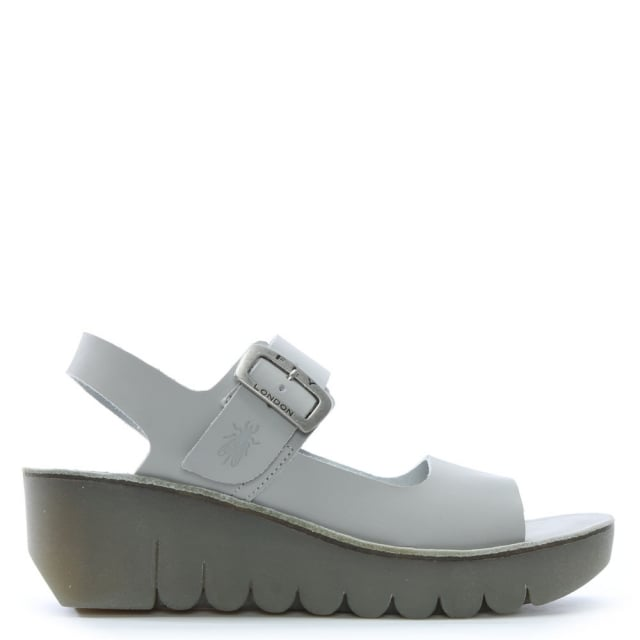 Fly London Yail White Leather Two Strap Sling Back Sandals