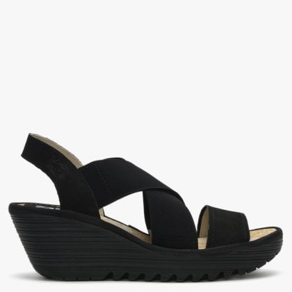 dcb6c90de5a Yaji Black Leather Elasticated Cross Strap Wedge Sandals. New In. Fly London  ...