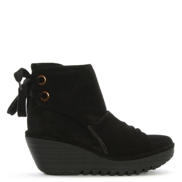 Yama Black Suede Wedge Ankle Boots