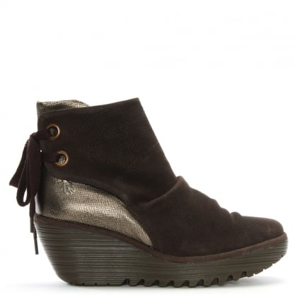 Yama Bronze Metallic Wedge Ankle Boots