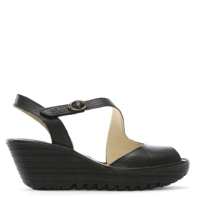 Fly London Yamp Black Leather Asymmetric Strap Sandals