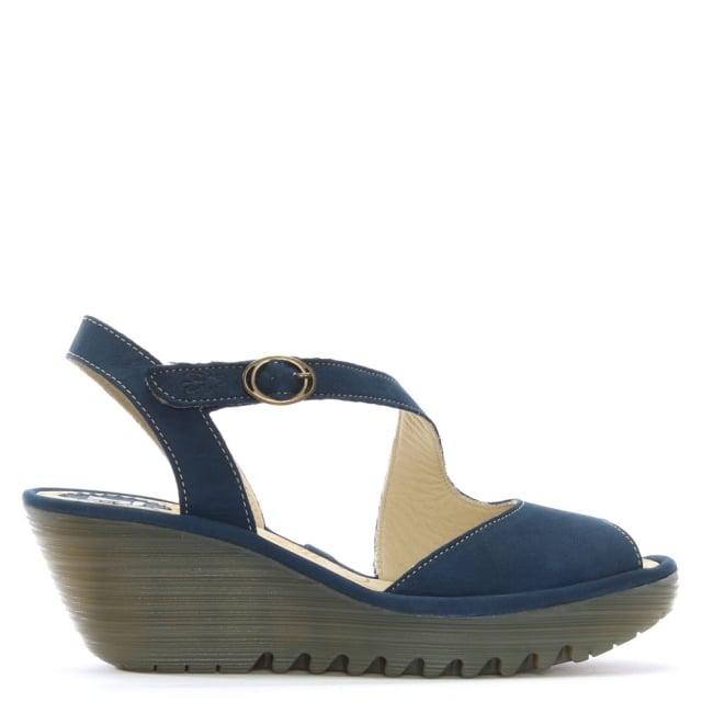 Fly London Yamp Navy Leather Asymmetric Strap Sandals