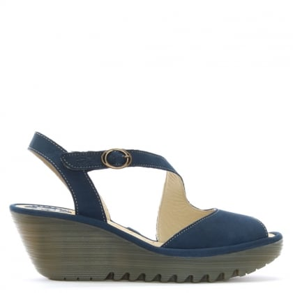 Yamp Navy Leather Asymmetric Strap Sandals