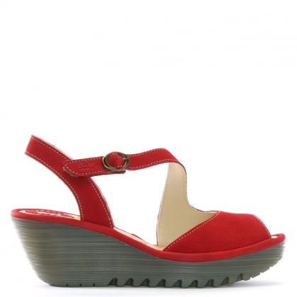 Yamp Red Leather Asymmetric Strap Sandals