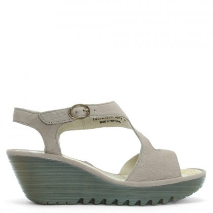 Yanca Beige Leather Wedge Sandals