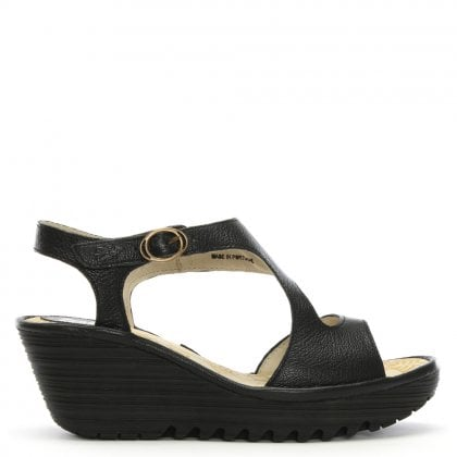 Yanca Black Leather Wedge Sandals