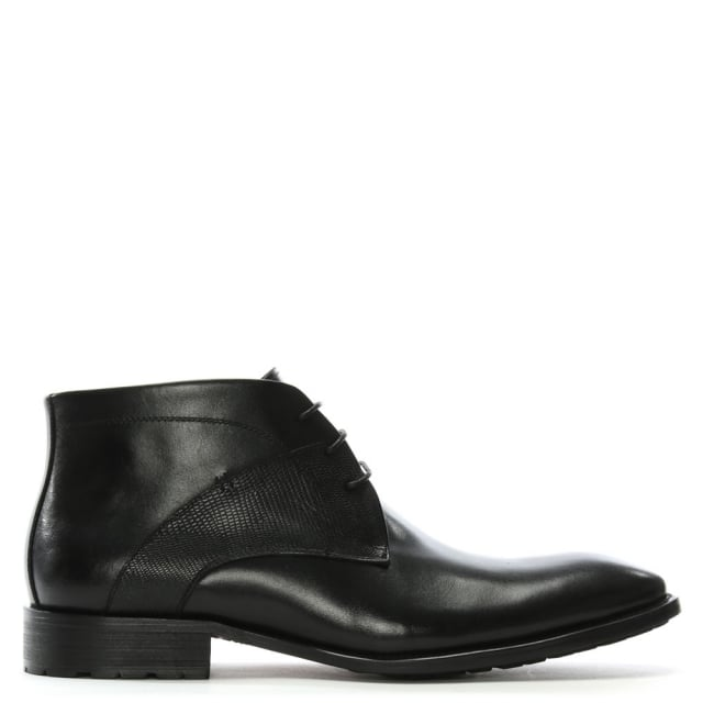 Yarcombe Black Leather Ankle Boots