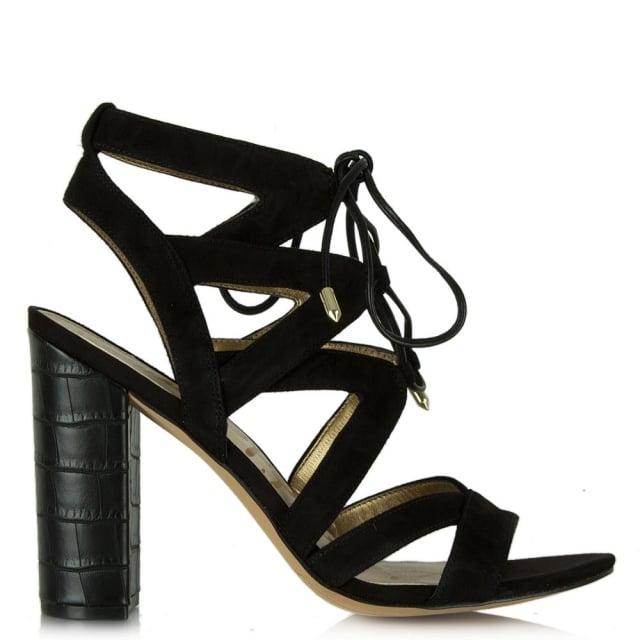 329f1ab9ce9 Yardley Black Suede Block Heel Strappy Sandal