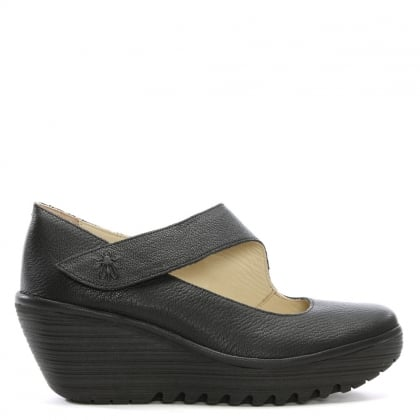 Yasi Black Leather Mary Jane Wedge Shoes