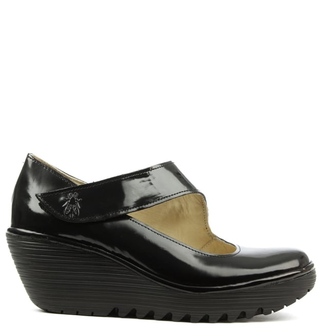 Yasi Black Patent Leather Mary Jane Wedge Shoe