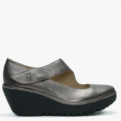 4e521c84b56 Fly London Yasi Bronze Leather Mary Jane Wedge Shoes
