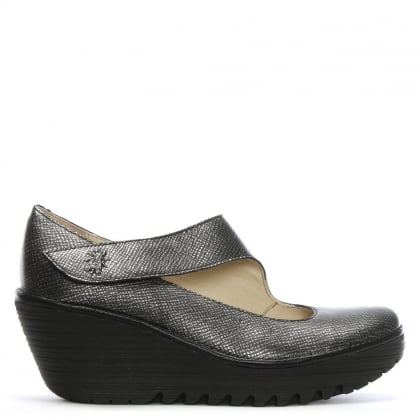 Yasi Silver Leather Mary Jane Wedge Shoes
