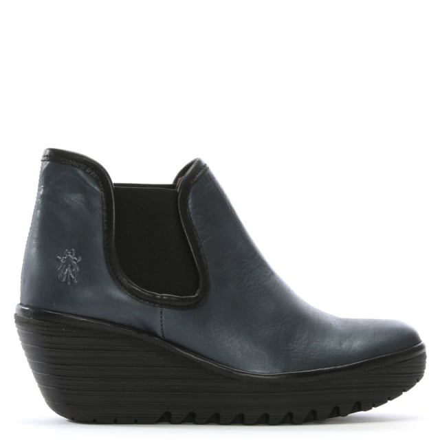 Yat Navy Leather Mid Wedge Chelsea Boots