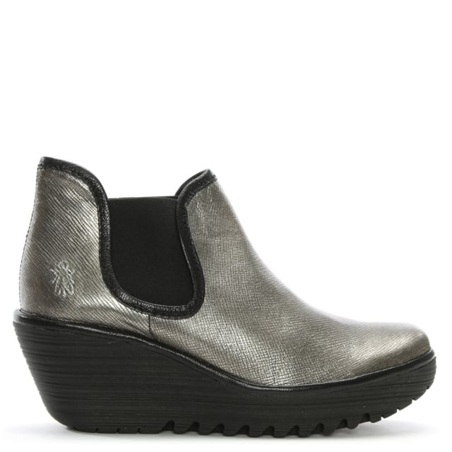 fly london yat silver metallic leather mid wedge chelsea boots. Black Bedroom Furniture Sets. Home Design Ideas