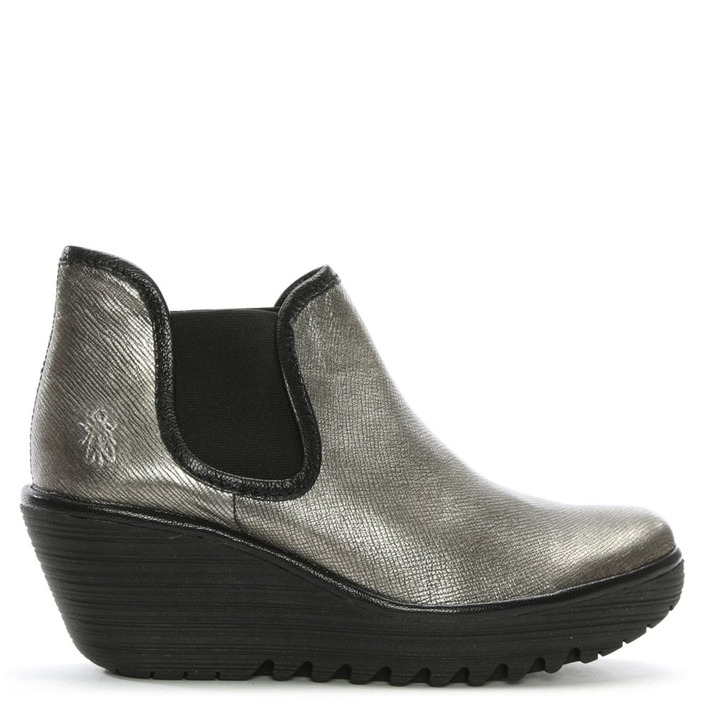 c9755110d Fly London Yat Silver Metallic Leather Mid Wedge Chelsea Boots
