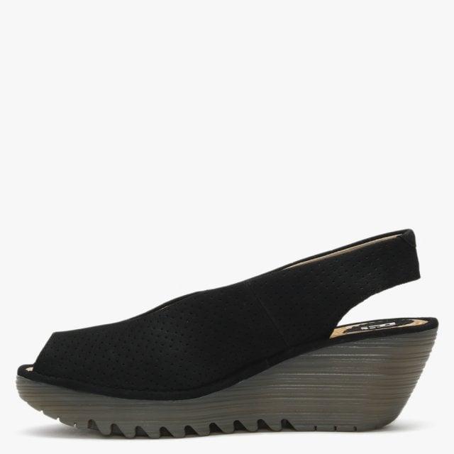 f12e30814842b Fly London Yazu Black Leather Perforated Sling Back Wedge Sandals