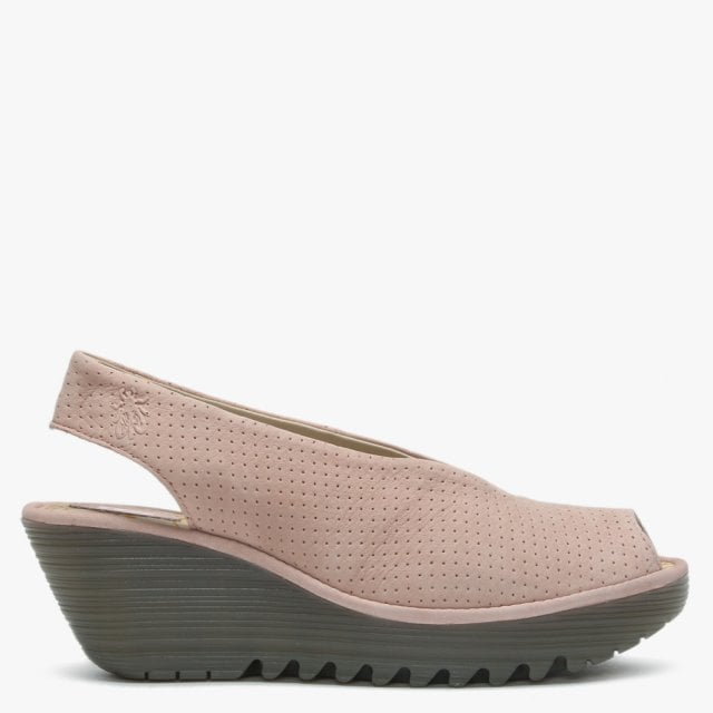 fe0cebc231c8d Fly London Yazu Nude Pink Suede Perforated Sling Back Wedge Sandals