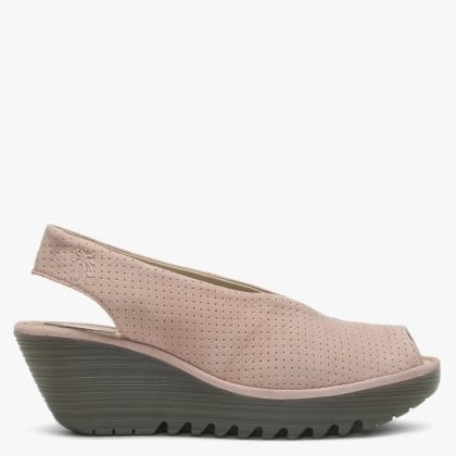 ec389658c68e9 Yazu Nude Pink Suede Perforated Sling Back Wedge Sandals. New In. Fly London  ...
