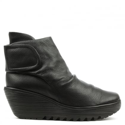 Yegi Black Leather Rouched Velcro Strap Wedge Ankle Boot
