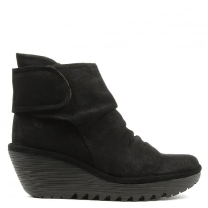 Yegi Black Suede Rouched Velcro Strap Wedge Ankle Boot