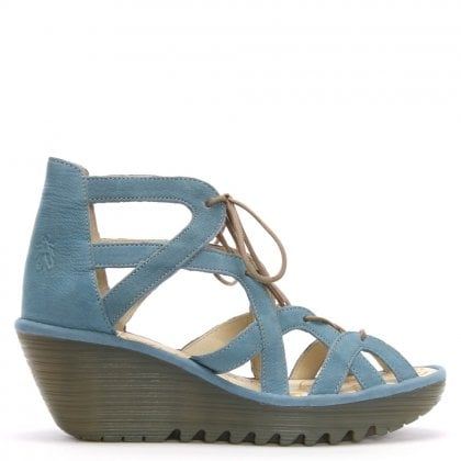 Yeli Blue Suede Caged Wedge Sandals