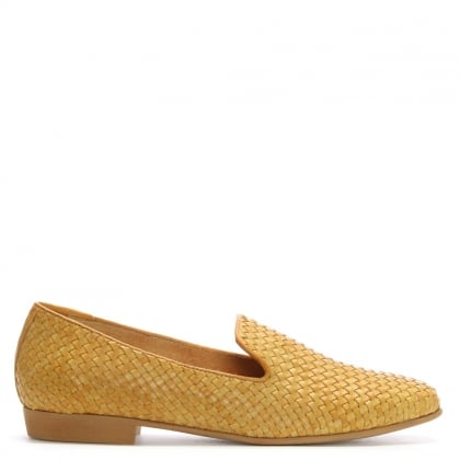 Yellow Leather Woven Loafers