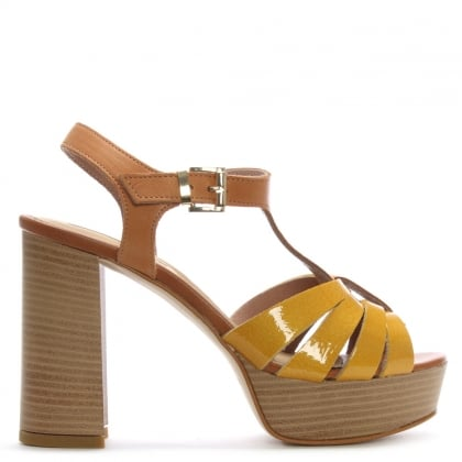 Yellow Patent Leather T Bar Platform Sandals