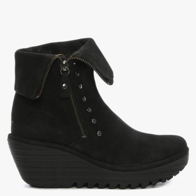 e90df807d4f Fly London Yemi Black Suede Mid Wedge Ankle Boots