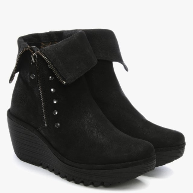 9c71628d6de Fly London Yemi Black Suede Mid Wedge Ankle Boots