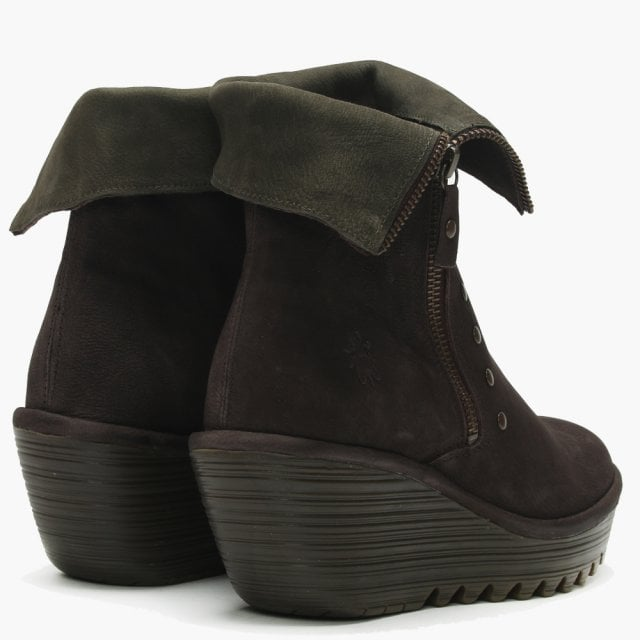 b6bb5d9dcaf Fly London Yemi Chocolate   Seaweed Leather Mid Wedge Ankle Boots