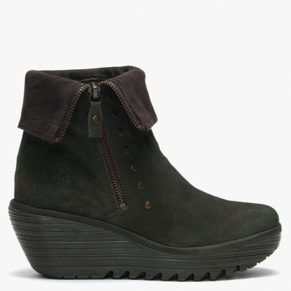 Yemi Seaweed   Chocola Leather Mid Wedge Ankle Boots b07a7cef5d