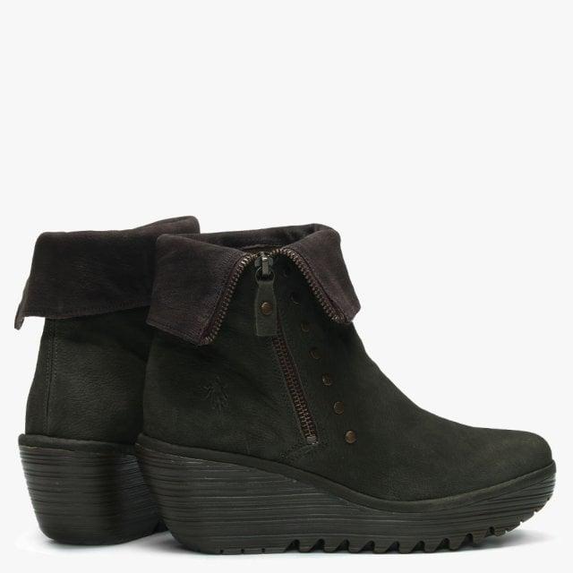 624ea4401c7 Fly London Yemi Seaweed   Chocola Leather Mid Wedge Ankle Boots