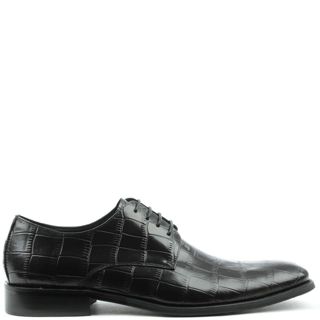 Yenston Black Leather Moc Croc Lace Up Shoe
