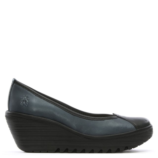 Yerb Navy Leather Wedge Shoes