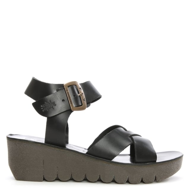 Yeri Black Leather Ankle Strap Wedge Sandal