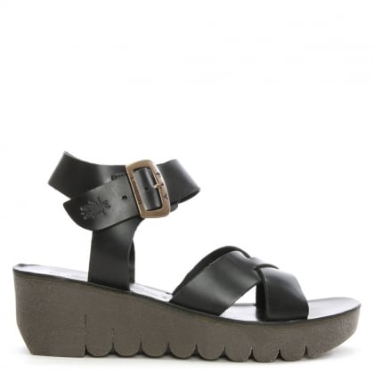 Fly London Yeri Black Leather Ankle Strap Wedge Sandal