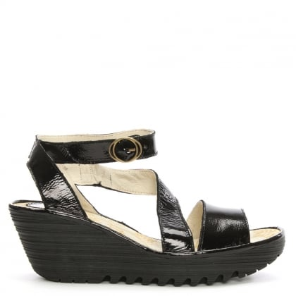 Fly London Yesk Black Patent Leather Wedge Sandal