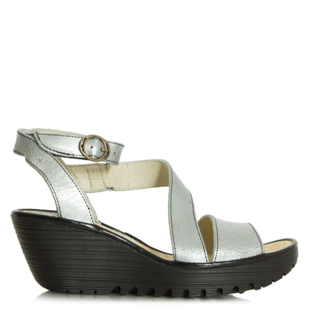 1cf1972252c13 Fly London Yesk Cracked Silver Leather Wedge Sandal