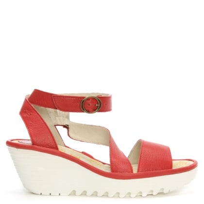 Fly London Yesk Red Leather Wedge Sandal
