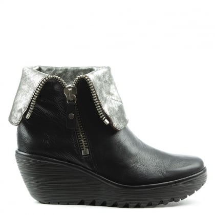 Yex Black Leather Fold Down Cuff Wedge Ankle Boot