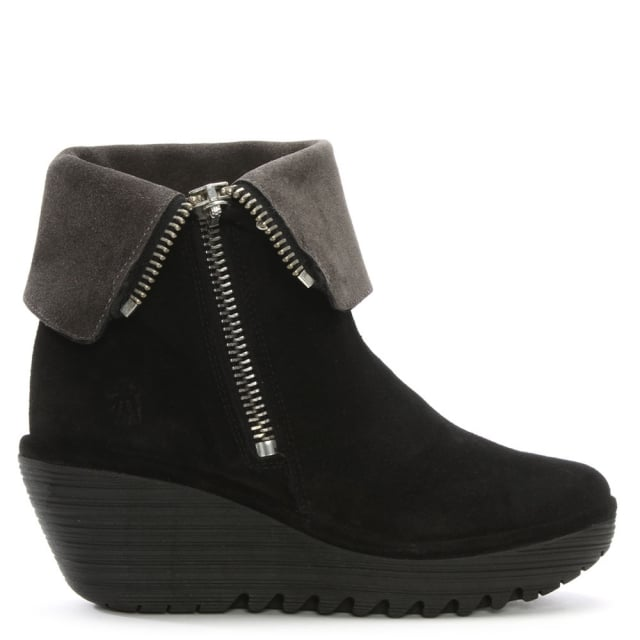 Yex Black Suede Fold Down Cuff Wedge Ankle Boots